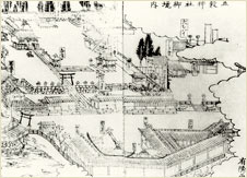 A map from Hisashige's  day showing the precincts of  the Gokoku Shrine